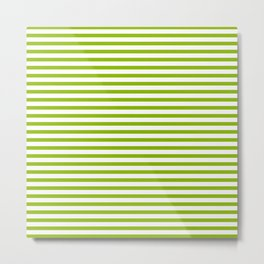 Apple Green & White Maritime Small Stripes- Mix & Match with Simplicity of Life Metal Print