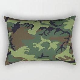 Green Forest Military Camo Rectangular Pillow