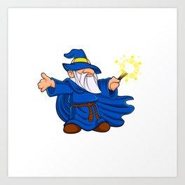 Blue wizard cartoon Art Print