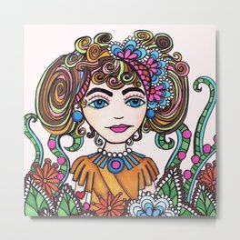 Style Girl - No 21 - Doodle Drawing Metal Print