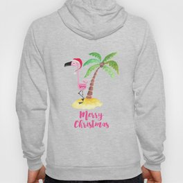 Pink Flamingo and Palm Tree Christmas Illustration Hoody