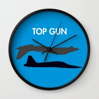top gun Wall Clocks featuring Top Gun  by NotThatMikeMyers