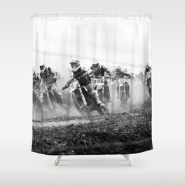 Motocross black white Shower Curtain