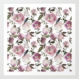 Scattered Vintage Soft Pink Blossom on Elegant White  Art Print