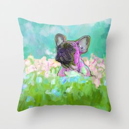 frenchie in the garden Throw Pillow