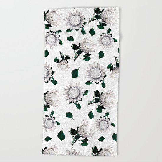 Protea Floral Pattern Beach Towel