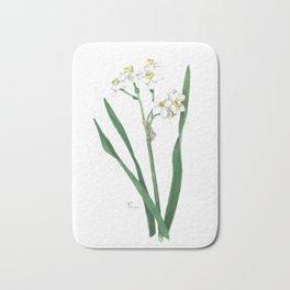 Cluster Daffodils Botanical Illustration Bath Mat