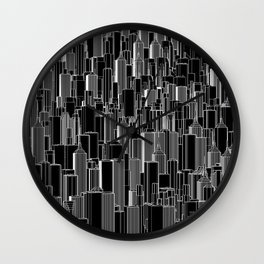 Tall city B&W inverted / Lineart city pattern Wall Clock