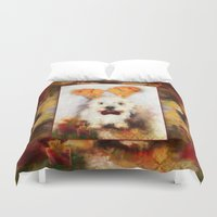 westie Duvet Covers featuring Merry Christmas Happy Holiday Westie by Ginkelmier