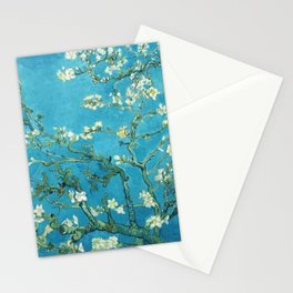 Vincent van Gogh Blossoming Almond Tree (Almond Blossoms) Light Blue Stationery Cards
