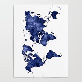 Dark navy blue watercolor world map Poster