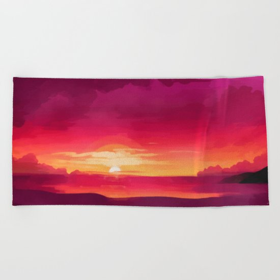A Panoramic Sunset Beach Towel