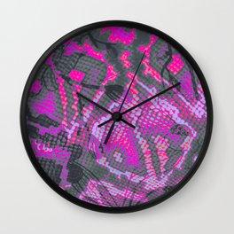 Fuchsia and Gray Snakeskin Wall Clock