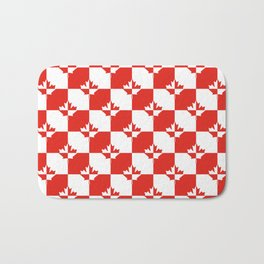 Red and White Canadian Maple Leaf Chess Board Checker Pattern Bath Mat