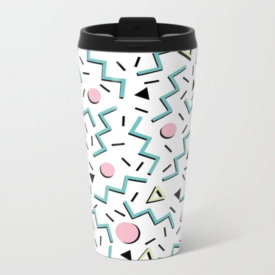 Back to the 80's eighties, funky memphis pattern design Metal Travel Mug