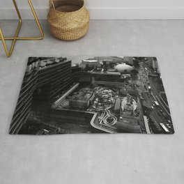 Hong Kong City Bay Black & White Monochrome Photography Art Print Rug