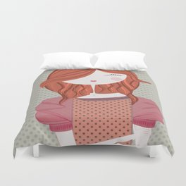 Fashion Doll Illustration 3 Duvet Cover