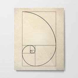Fibonacci Spiral Art Print Metal Print