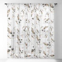 Chihuahua watercolor pattern Sheer Curtain