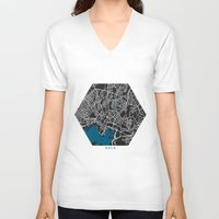 oslo V-neck T-shirts featuring Oslo city map black colour by MCartography