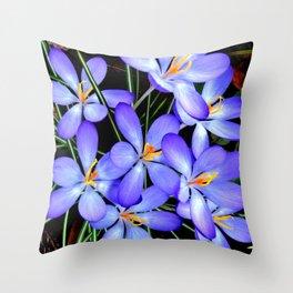 Blue Wildflower Throw Pillow