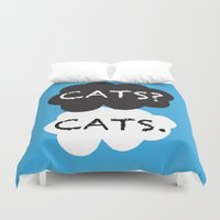 tfios Duvet Covers featuring Cats by bitobots