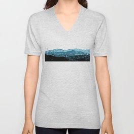 Powerlines in Japan - minimalist mountains Unisex V-Neck