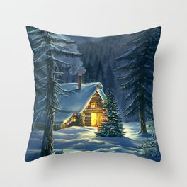 Christmas Snow Landscape Throw Pillow