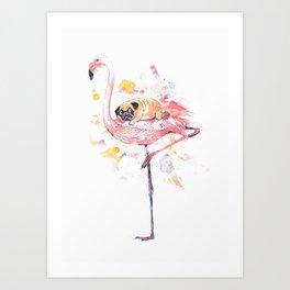 Flamingo and Pug Watercolor Art Print