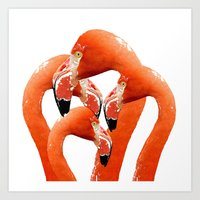 flamingos Art Prints featuring Flamingos by Regan's World