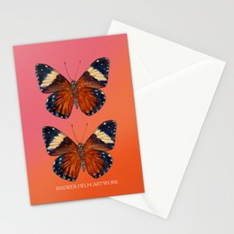 Hamadryas Amphinome Butterfly - Dark Orange & Deep Blue Black Stationery Cards