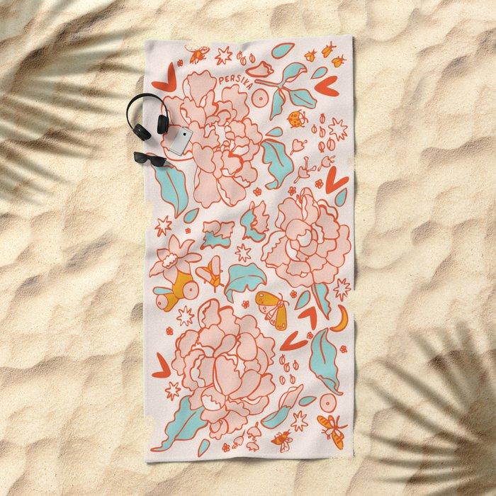 Vintage Summer Flowers Beach Towel