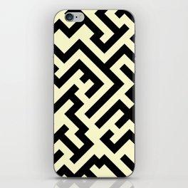 Black and Cream Yellow Diagonal Labyrinth iPhone Skin