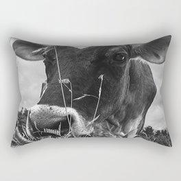 Cow In The Grass BW Rectangular Pillow