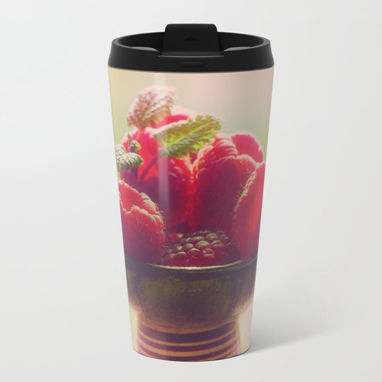 Raspberries fruit enjoyment Metal Travel Mug
