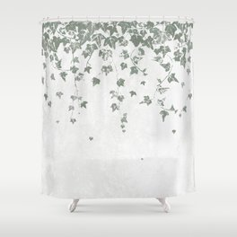 Gray Green Trailing Ivy Leaf Print Shower Curtain
