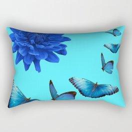 BLUE DAHLIA FLOWER & BLUE BUTTERFLIES ALLURE Rectangular Pillow