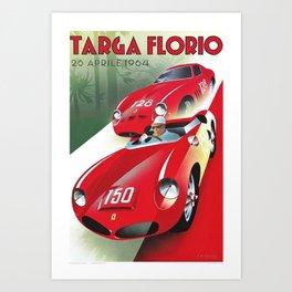 Vintage Italian Roadster Racing Targa Florio Sports Car Poster Art Print