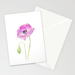 Purple Poppy Floral Watercolor Stationery Cards