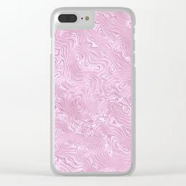 Powder Pink Silk Moire Pattern Clear iPhone Case