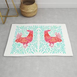 Le Coq – Watercolor Rooster with Mint Leaves Rug