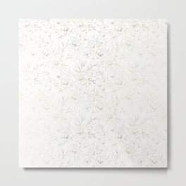 Elegant simple modern faux gold white floral Metal Print