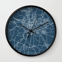Rennes Blueprint Street Map, Rennes Colour Map Prints Wall Clock