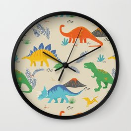 Jurassic Dinosaurs in Primary Colors Wall Clock