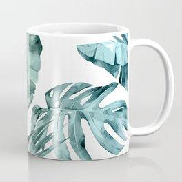 Tropical Palm Leaves Turquoise Green Blue Gradient Coffee Mug