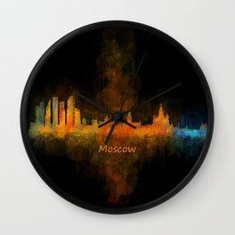Moscow City Skyline art HQ v4 Wall Clock