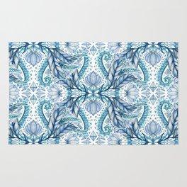 Lily, Leaf & Triangle Pattern – blues Rug