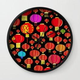 Lanterns on Black Wall Clock