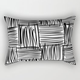 Modern Square Black on White Rectangular Pillow