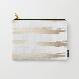Simply Brushed Stripe White Gold Sands on White Carry-All Pouch